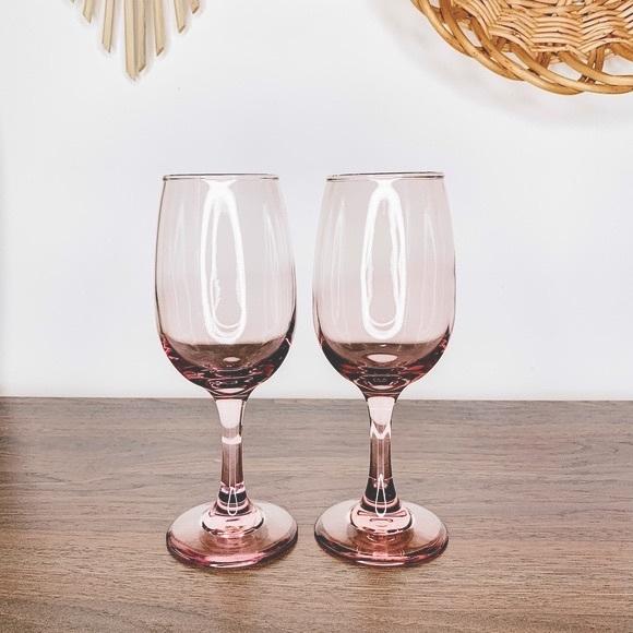 Vintage Pink Plum Retro White Wine Goblet Glasses